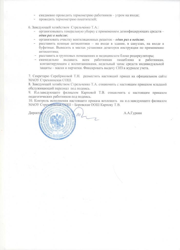 Приказ об организации работы дошкольного отделения филиала Боровская ООШ.2 лист